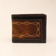 3D Belt DW244 Chocolate Distressed Woven Embossed Bi-fold Wallet - 3.75 x 4.37 in.