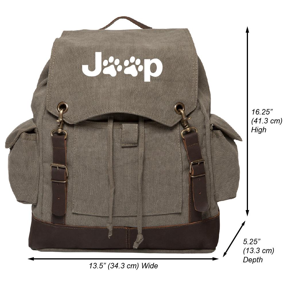 Jeep Wrangler Cat Dog Paw Prints Canvas Rucksack Backpack...