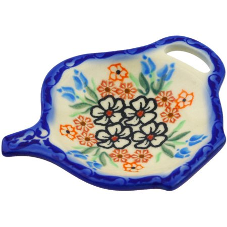 - Polish Pottery 4¼-inch Tea Bag or Lemon Plate (Fanciful Ladybug Theme) Signature UNIKAT Hand Painted in Poland + Certificate of Authenticity