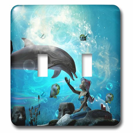 3dRose Underwater world mermaid playing with dolphin - Double Toggle Switch