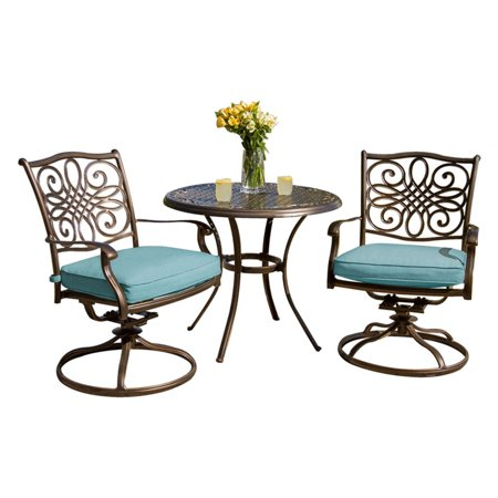 Superb Hanover Outdoor Traditions 3 Piece Swivel Bistro Set Ocean Blue Caraccident5 Cool Chair Designs And Ideas Caraccident5Info