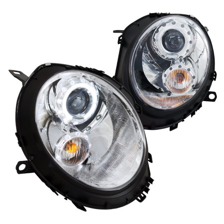 Spec-D Tuning 2007-2012 Mini Cooper Halo Ring Projector Headlights 2007 2008 2009 2010 2011 2012 (Left + Right)
