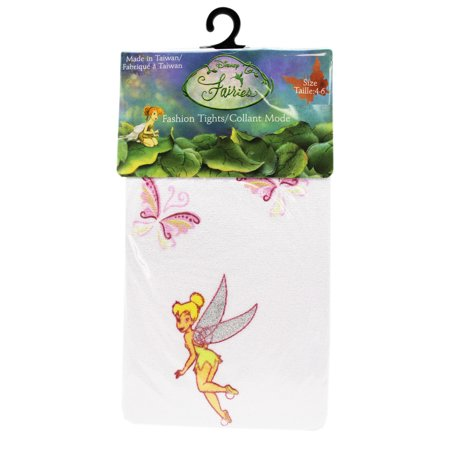 Disney's Tinker Bell Butterfly Themed White Colored Kids Tights (Size 4-6)