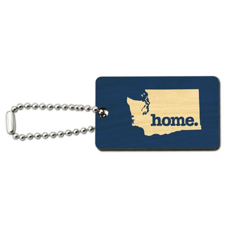 - Washington WA Home State Wood Wooden Rectangle Key Chain - Solid Navy Blue