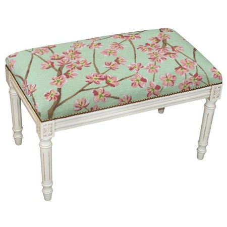 Antique Wash - 123 Creations C920BWBC 100 Percent Wool Green Blossoms Needlepoint Upholstered Solid Wood Bench - Antique White Wash