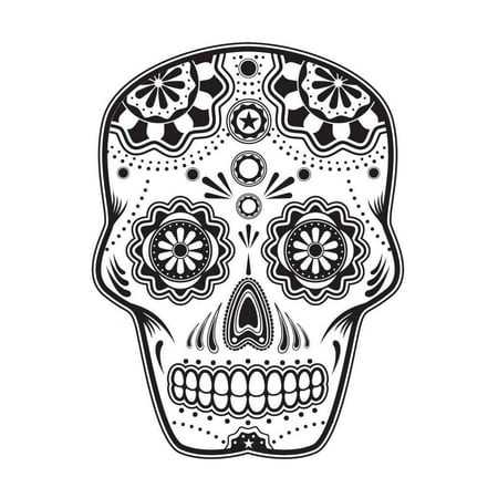 Sugar Skull Halloween Edible Icing Image for 1/4 sheet cake](Amazon Halloween Cake Decorations)