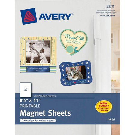 Avery Printable Inkjet Magnet Sheets, 8 1/2 x 11, White, 5/Pack