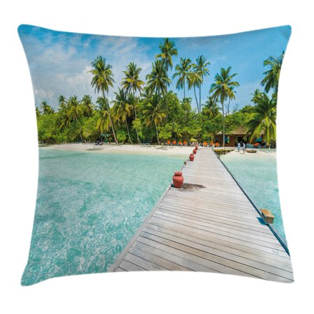Tropical Throw Pillow Cushion Cover, Maldives Island with Beach Wooden Deck Palms Exotic Holiday Picture, Decorative Square Accent Pillow Case, 24 X 24 Inches, Aqua Turquoise Fern Green, by