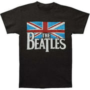 Beatles Men's Distressed British Flag T-shirt XX-Large Grey