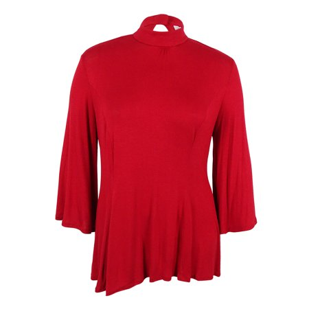 08580e54148 NY Collection Women s Plus Size Mock-Turtleneck Swing Top - Walmart.com