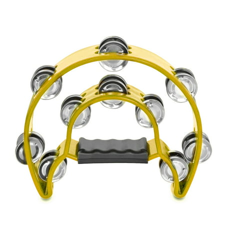 Half Moon Tambourine - Half Moon Musical Tambourine (Yellow) Double Row Metal Jingles Hand Held Percussion Drum for Gift KTV Party Kids Toy with Ergonomic Handle Grip