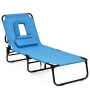 Topbuy Outdoor Folding Beach Chaise Lounge Chair Adjustable Camping Recliner