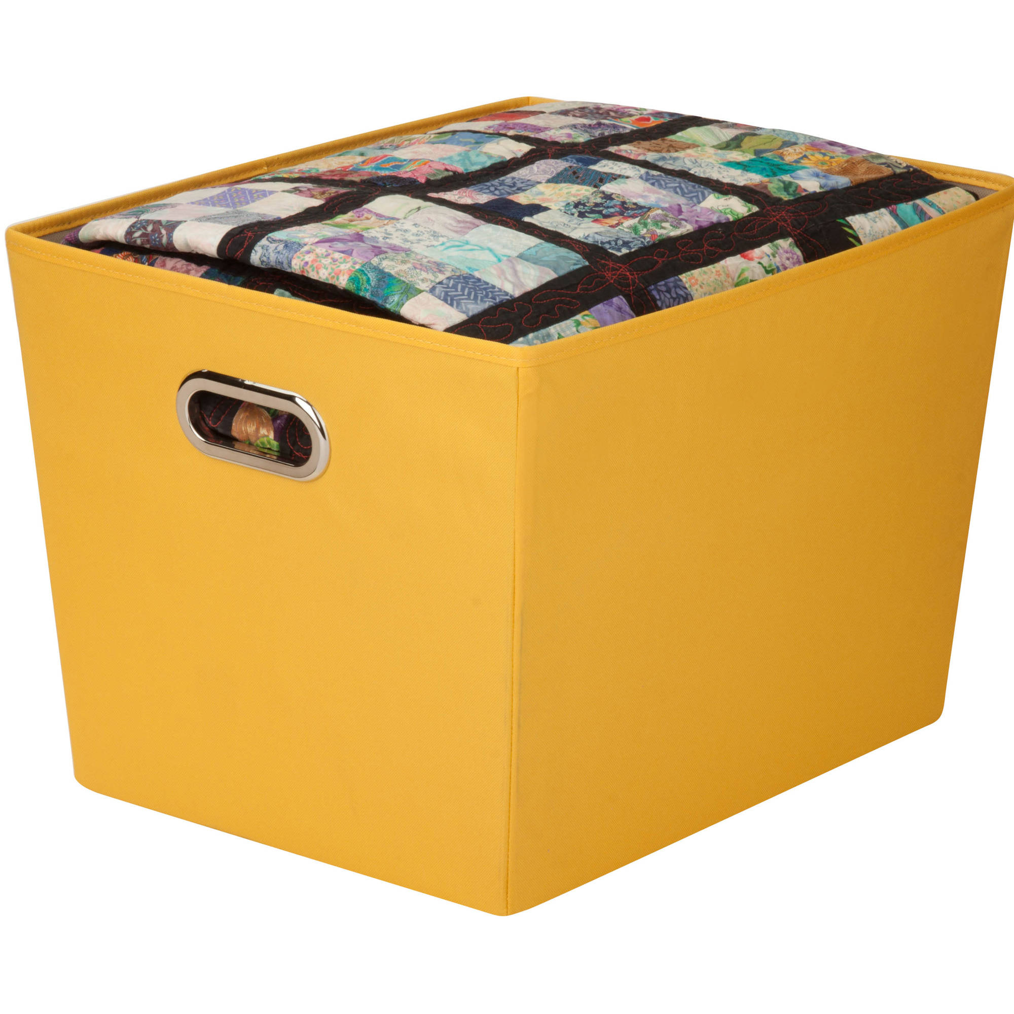 Honey Can Do Large Decorative Storage Bin with Tote Handles, Multicolor