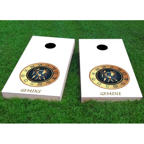 Custom Cornhole Boards Zodiac Gemini Themed Cornhole Game (Set of 2) by Custom Cornhole Boards