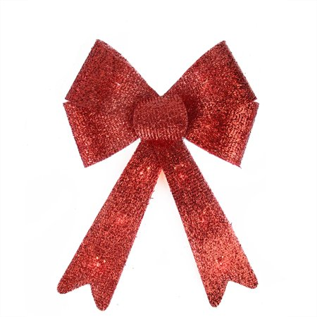 16 pre lit red sparkly bow large christmas decoration warm white lights