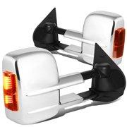 For 2007 to 2014 Chevy Silverado / GMC Sierra Pair Chrome Manual+Amber LED Turn Signal Towing Mirror