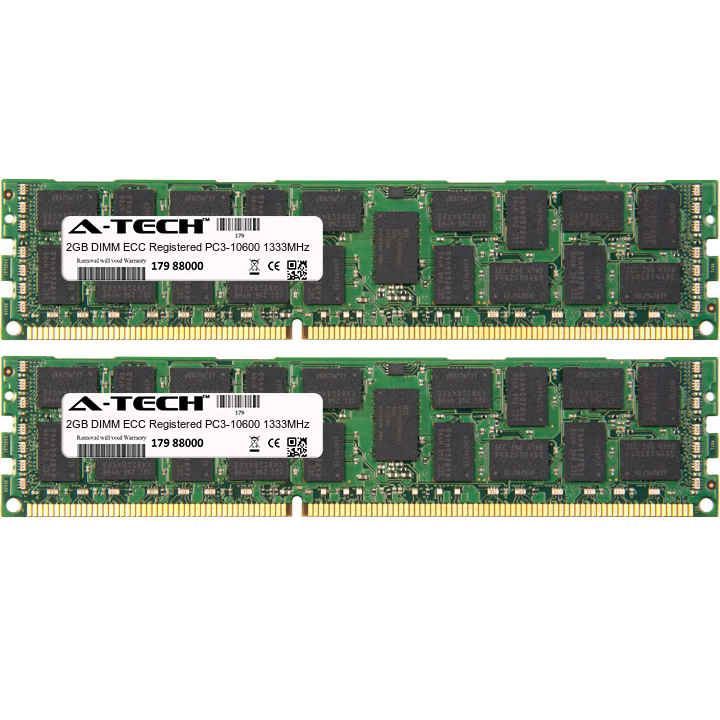 4GB Kit 2x 2GB Modules PC3-10600 1333MHz ECC Registered DDR3 DIMM Server 240-pin Memory Ram