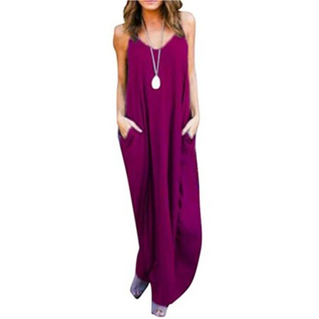 Women's Summer Casual Plain Flowy Pockets Loose Beach Cami Maxi Dress](Casual Flowy Dresses)