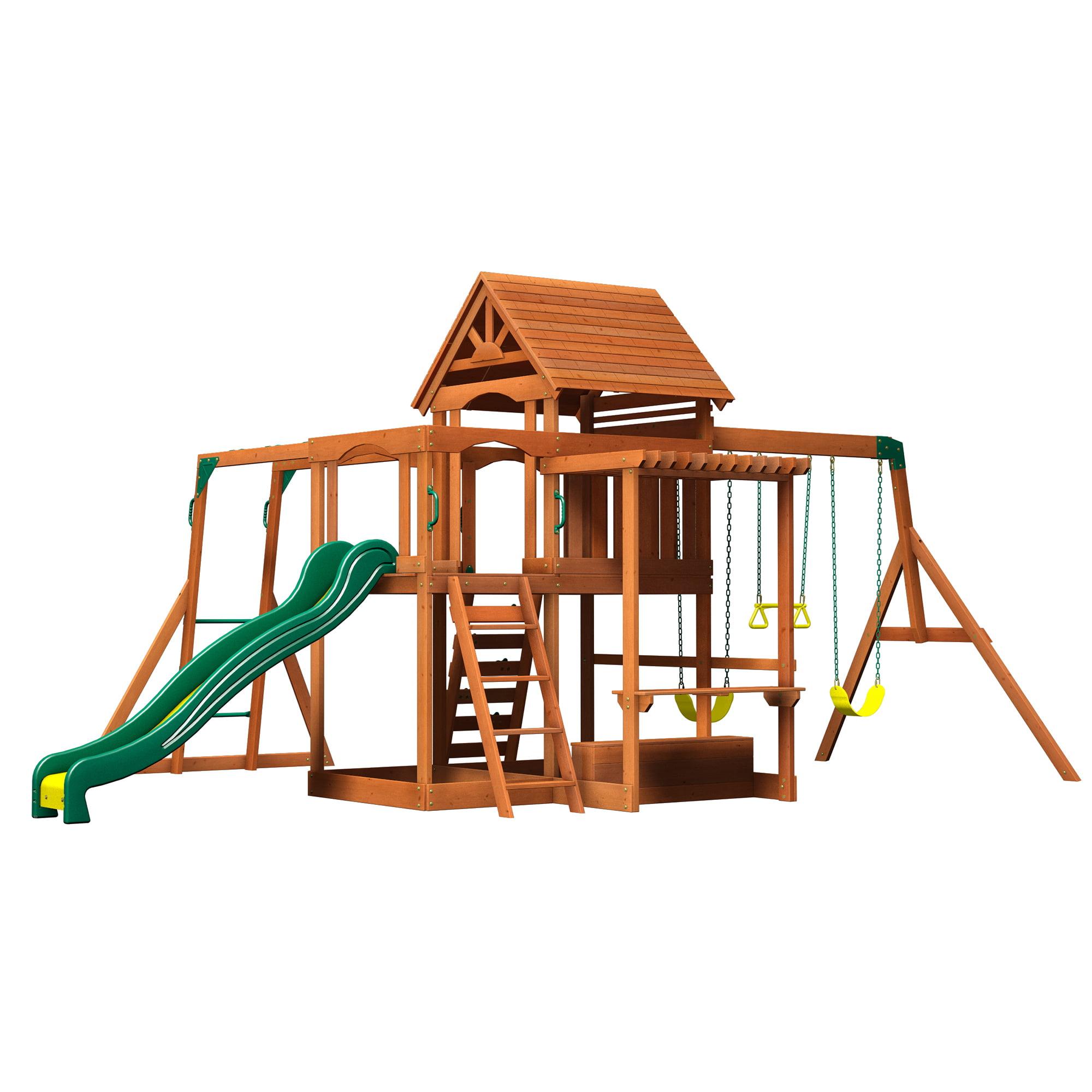 backyard discovery monticello cedar swing set walmart com