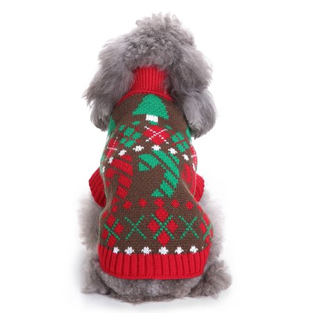 HDE Dog Sweater Christmas Holiday Patterned Knit Pullover Festive Cold Weather Pet Apparel Outfit (Christmas Tree, XX-Large)