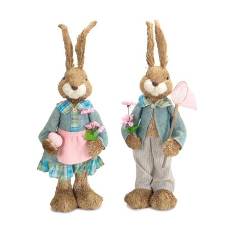 Set of 2 sisal easter bunny rabbit spring decorations with for Sisal decoration