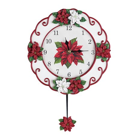 Poinsettia Christmas Pendulum Clock Decoration