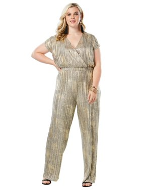 0aa0ac8e026c Product Image Roaman s Plus Size Wide-leg Metallic Jumpsuit With Pleating