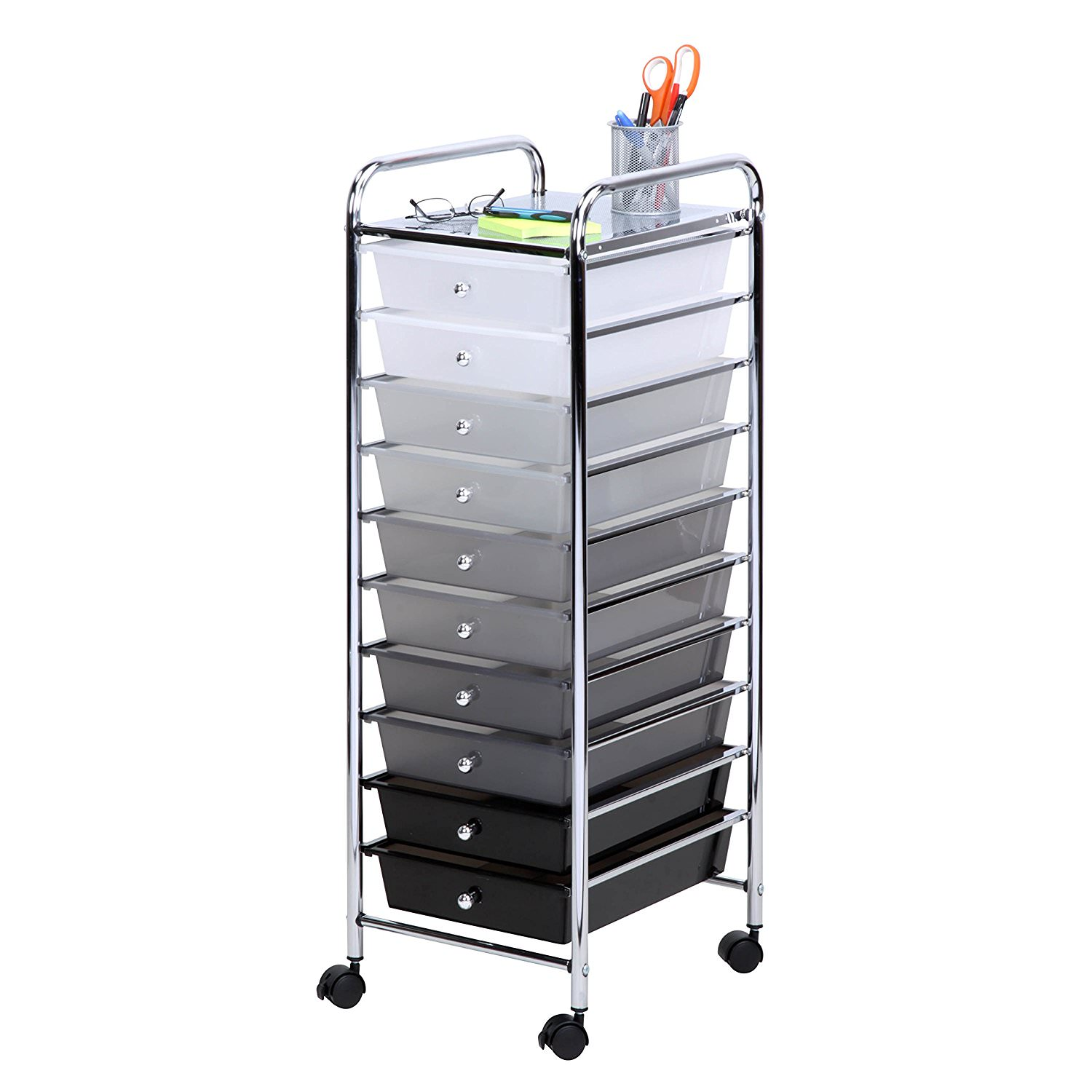 Honey Can Do Rolling Storage Cart with 10 Shaded Drawers, Multicolor