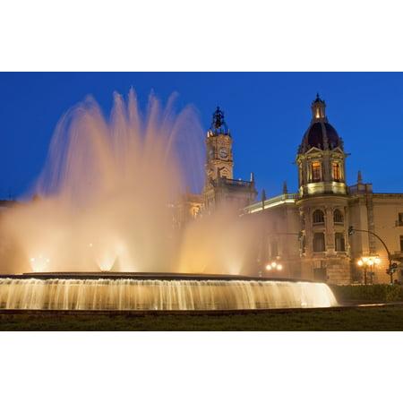 City Hall And Fountain At Dusk PosterPrint