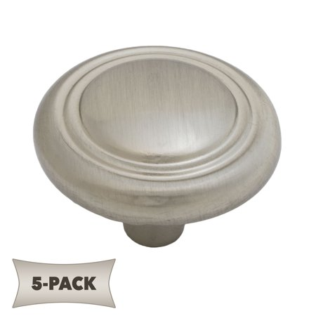5-Pack Button Rimmed Round Kitchen Cabinet Hardware Mushroom Knob 1-1/4 Inch, Satin -