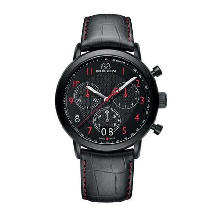 88 Rue Du Rhone Mens Double 8 Origin 45Mm Black Leather Band Ip Steel Case Quartz Analog Watch 87Wa130032