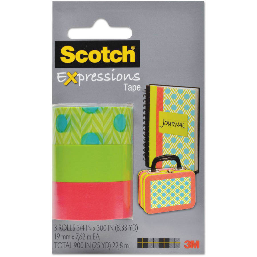 "Scotch Expressions Magic Tape, 3/4"" x 300"", Assorted Blue Green, 3 Pack"