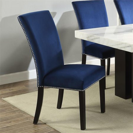 Incredible Camila Blue Velvet Dining Chair Set Of 2 Machost Co Dining Chair Design Ideas Machostcouk