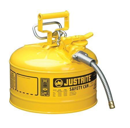 2-1/2 gal. Yellow Galvanized Steel Type II Safety Can, For Diesel JUSTRITE 7225220