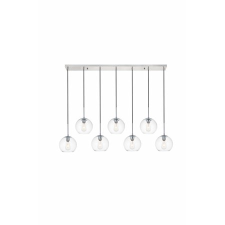 """Elegant Lighting LD2230 Baxter 7 Light 54"""" Wide Linear Pendant with Clear Glass"""
