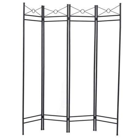 4 Panel Room Divider Privacy Folding Screen Home Office Fabric Metal ...