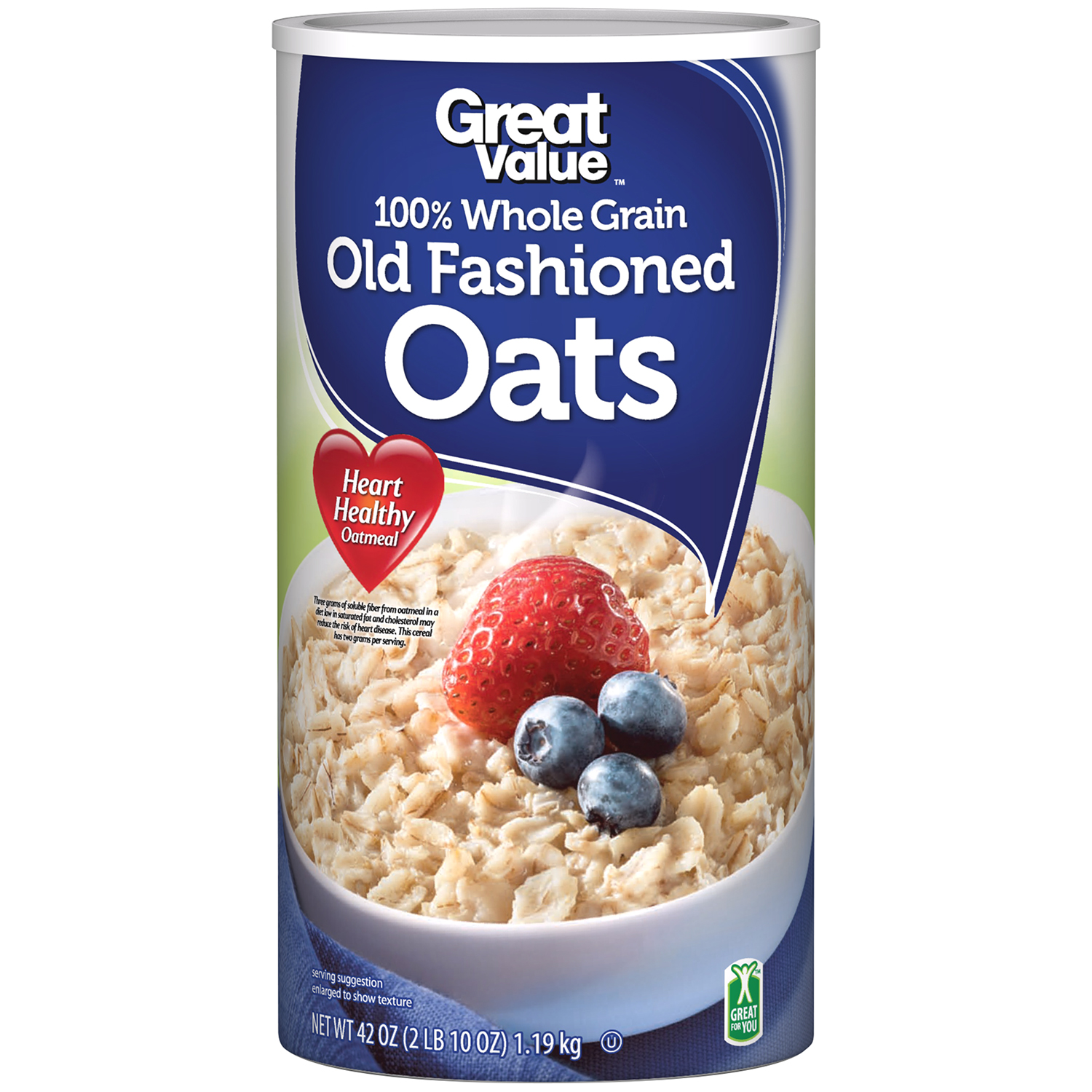 Great Value 100% Whole Grain Old Fashioned Oats 42 oz Canister