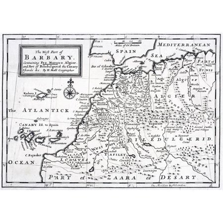 Posterazzi DPI1861624LARGE The West Part of Barbary Containing Fez Marocco Algier & Part of Biledulgerid the Canary Islands Etc Map From Circa 1 Poster Print, 34 x 24
