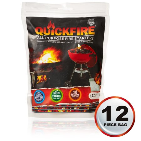 Quickfire Instant Fire Starters Voted 1 Camping And Charcoal Bbq Starter Of 2016 Waterproof Odorless Non Toxic 12 Pouches
