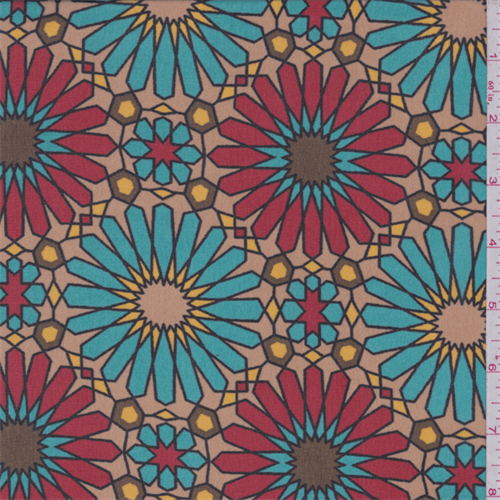 Gold/Turquoise/Red Mosaic Floral Polyester Chiffon, Fabric By the Yard
