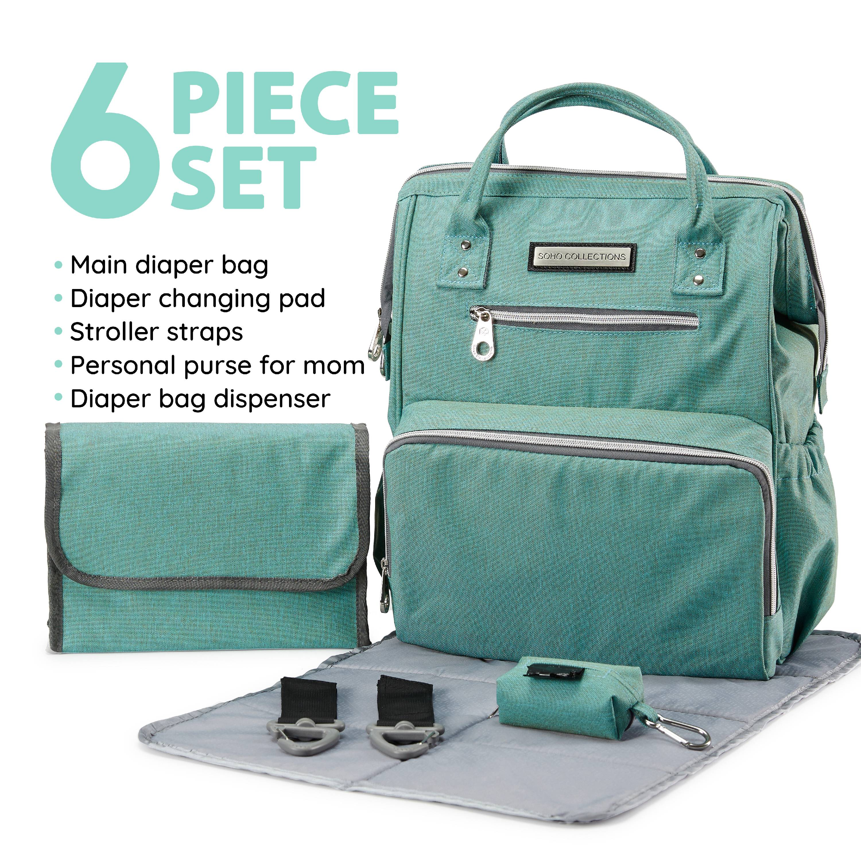 SoHo Collections, Wide Opening Designer Unisex Diaper Bag Backpack with Stroller Straps, 6 Piece Set (Apple Green)