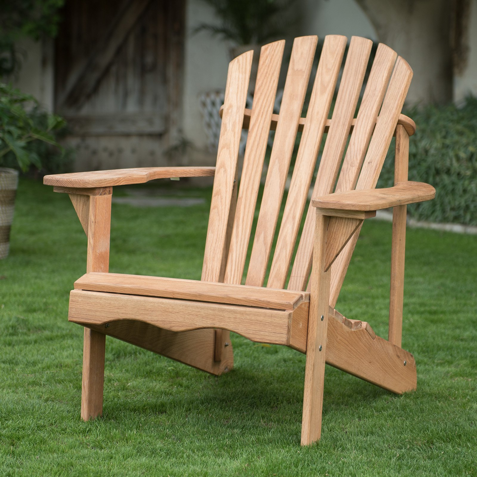 Belham Living Hampton Oak Wood Deluxe Adirondack Chair