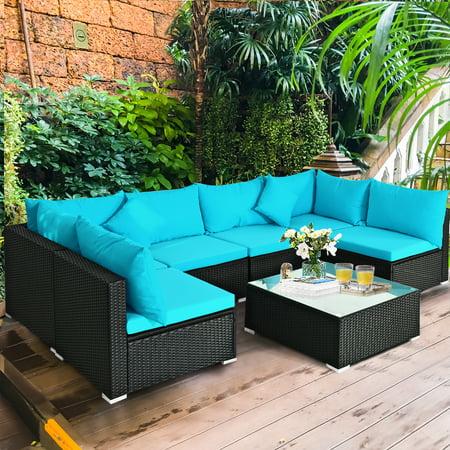 Gymax 7PCS Rattan Patio Conversation Set Sectional Furniture Set w/ Blue Cushion - image 3 of 10