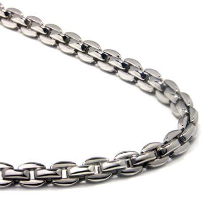 Phiten Aqua Titanium Necklace - Titanium Men's 5MM Oval Link Necklace Chain 32