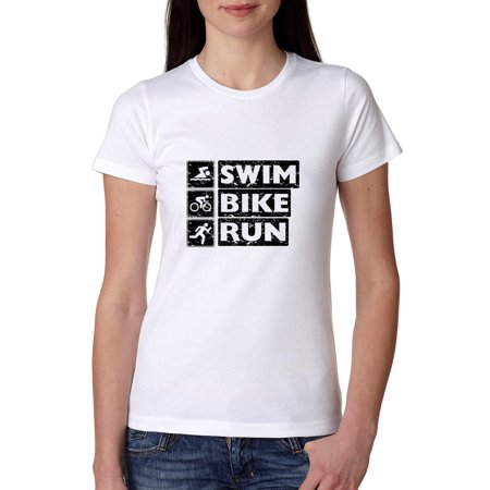 Swim Bike Run - Classic Icons Popular Women's Cotton T-Shirt Womens Run Shirt