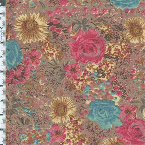 Sandy Garden Japanese Floral Print, Fabric By the Yard