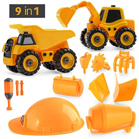 Construction Mixer Truck - Prextex DIY 9-in-1 Construction Vehicle Set (29 Pieces), Build-It-Yourself Take-Apart Excavator Mixer and Dump Truck Toy with Tools For Boys