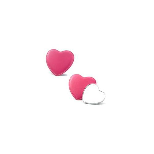 Aeropen International M-52 Colors Heart Shaped Single Sided Chrome Plated Metal Mirror with Pink PU Leatherette Sleeve