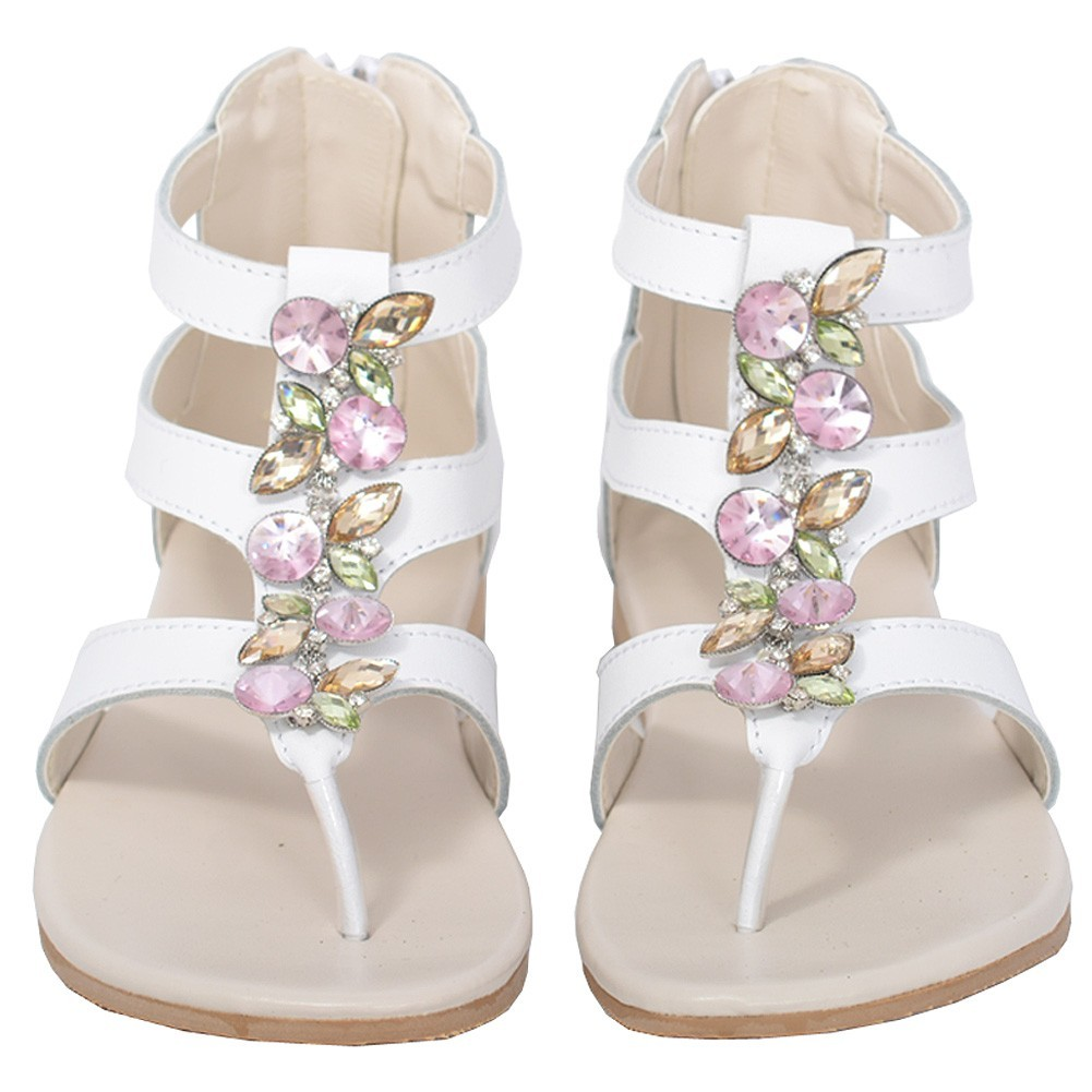 L'Amour White Jeweled Gladiator T Strap Sandal Toddler Girl 7-10