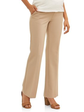 Oh! Mamma Maternity Career Pants with Demi Panel and Flared Leg - Available in Plus Sizes